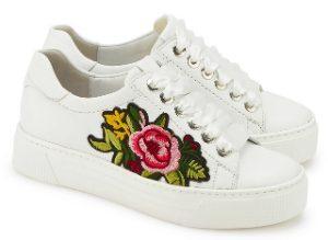 5307da6b8f Sneaker von Semler mit angesagter Blumen-Stickerei in Uebergroessen Weiss